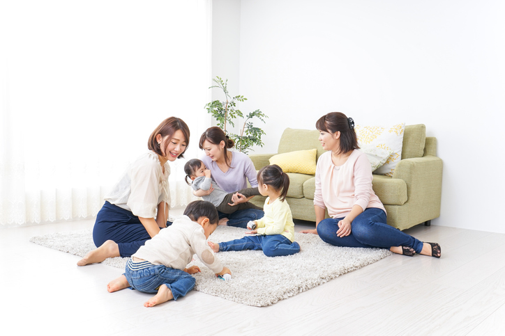 Kids and moms at home